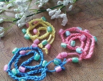 Little girls crocheted beaded wrap bracelets