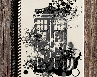 Tardis Journal - Tardis Notebook - Dr. Who Journal - Dr. Who Notebook - Doctor Who - Police Box - Tardis Art