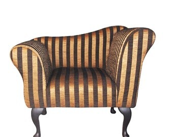 Chaise Longue Chair Stripe Gold and Black Upholstered