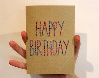 HAPPY BIRTHDAY - Hand Stitched Birthday Card