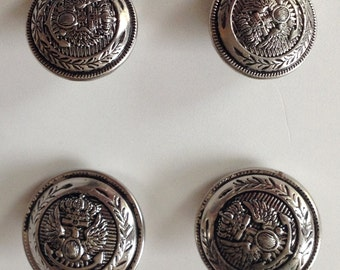 Silver Nautical Metal Buttons, Vintage