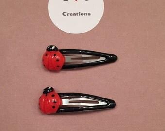 Ladybug resin hair clip
