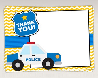 Police Thank You Card - Thank you Favor tags - Note Card