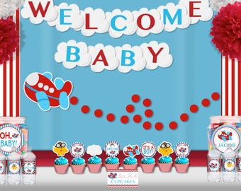Airplane Aviator Baby Shower Party  Printable Wall Banner - Aviator Party Decorations Supplies