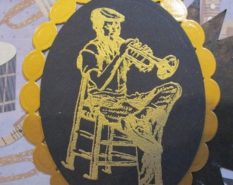 Jazz Musician playing trumpet happy birthday card(one-of-a-KIND) unique JAZZ CARD