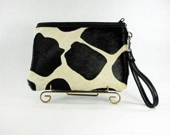 leather clutch, pony hair clutch, cowhide clutch,black and white giraffe print pony hair clutch,giraffe clutch