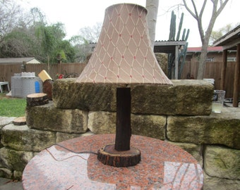 rustic homemade custom lamp, mesquite wood lamp