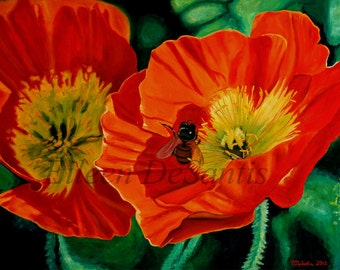 Large red orange poppies and bee oil painting,  realism, flower painting. symbolism, wall decor.