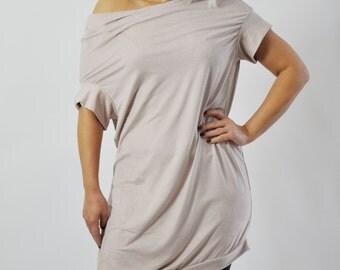 Oversize Loose Casual Top Tunic/Asymmetric Raglan Sleeves Tunic/Maxi pink powder Blouse/Woman Drape Dress/Asymmetric Tunic Top/T1390
