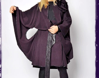 Dark purple Cape Cloak/Maxi Wool coat Cape/Woman cashmere oversize coat cape/Handmade maxi coat/Winter Cashmere 100% Wool cape/C1270
