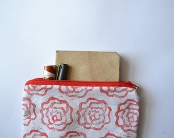 Hand printed hand made zip purse / zip pouch / coin purse / clutch / Block printed red rose floral design