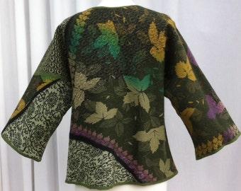 Hand Felted Merino Wool and Silk Kimono Style Jacket