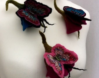 Merino Wool and Silk Flower Brooch with Butterfly