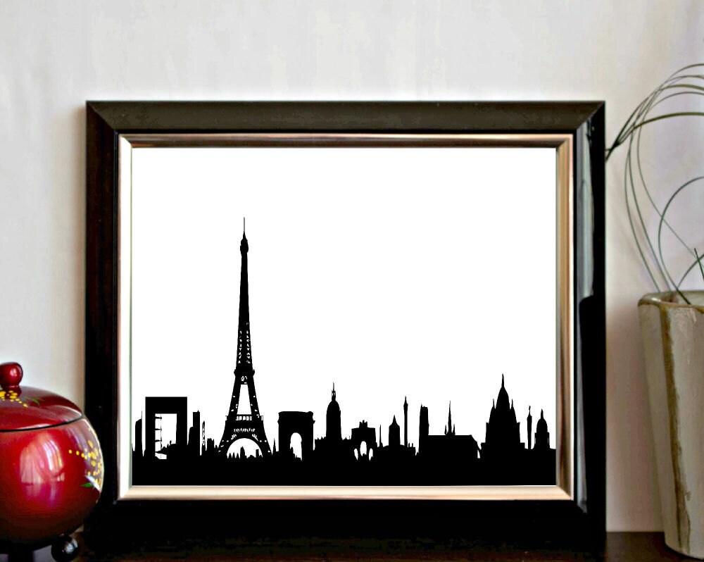 paris skyline printable wall art paris cityscape print. Black Bedroom Furniture Sets. Home Design Ideas