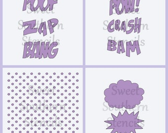 Superhero Sayings Stencils  (4 separate stencils)