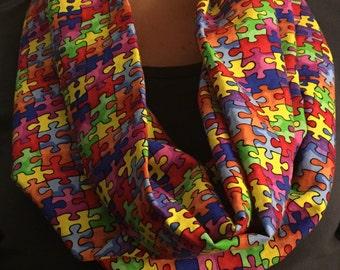 Autism Awareness Infinity Scarf