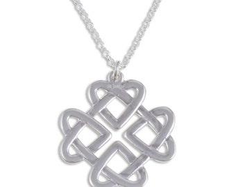925 Sterling Silver Celtic Heart Love Knot Pendant  on 18  inch Sterling Silver Belcher Chain.