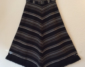 Vintage 70s Navajo Indian fringed wool mix skirt XS