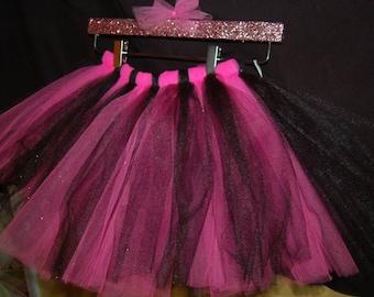 Black and Pink Tutu, Pink and Black Tutu, Girls Pink Tutu, Girls Hot Pink Tutu, Infant Pink Tutu, Infant tutus