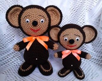 Cheburashka -crochet cartoon creature from the USSR animation. Boys and girls toy. Home decor.