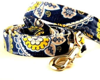 Navy Blue with Yellow Flowers and Swirls Paisley Leash