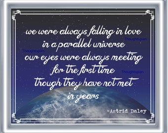 Metaphysical Love Poem Art Print 8 x 10 - On Linen - Cosmic Romance in Parallel Universe - Romantic Lost Love - Outer Space - Fate Destiny