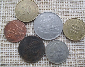Vintage from 20s - to 90s - LATVIA  Coin - Santimi - Set 6 pcs.
