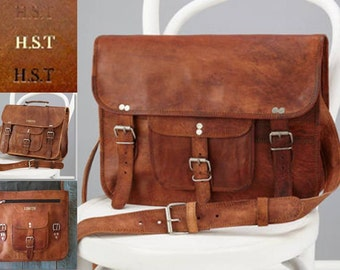 Personalised Leather Satchel With Front Pocket By Vida Vida