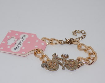 Gold Bicycle Charm Bracelet Chain Link- Bicycle Jewelry