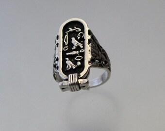 Egyptian Cartouche Hieroglyph Ring