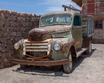 Old Rusty Truck, Salar de Uyuni, Bolivia. Photo Art Print for Home, Business, Office, Bathroom, Garage. Home Decor, Farm Truck, Rustic.