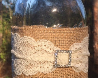 Rutic Lace Rhinestone Buckle Burlap Mason Jar Wrap