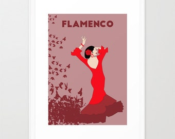 Spanish Flamenco dancer print-Andalusian dance poster-Dance lover wall art-Red print-Cool birds Decorative Art Print-Large print