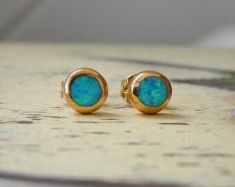 Opal earrings, Stud gold filled earrings, Post earrings with opal stone, Everyday earrings, Simple studs