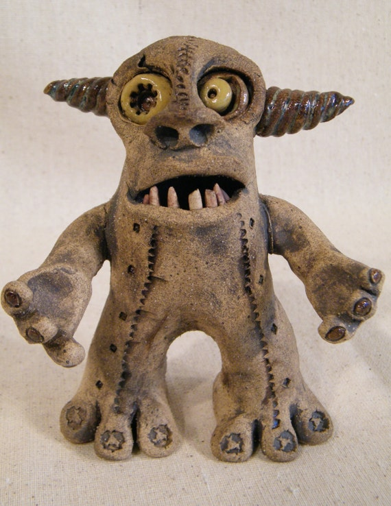 Adorable Monster. Whimsical ceramic sculptural companion to enhance your daily living as we Bravely face the whatever with Humor