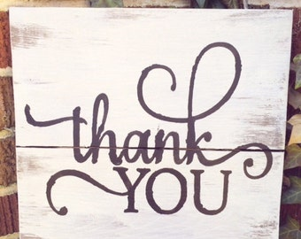Wooden thank you sign for wedding