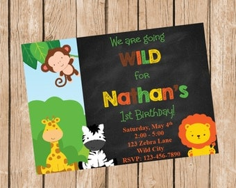 Jungle Animals Chalkboard Style Birthday Invitation