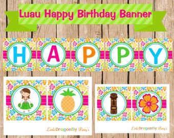 Luau Happy Birthday Banner, Instant Download, DIY