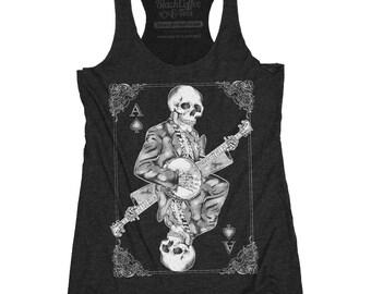 Banjo Shirt - Women's Banjo Shirt of Skeleton Playing Banjo - Music Shirt - Day of Dead Concert Tank Top