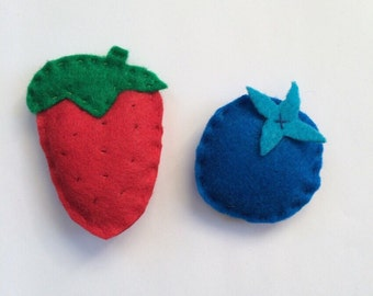 Handmade Felt Strawberry and Blueberry Catnip Cat Toy
