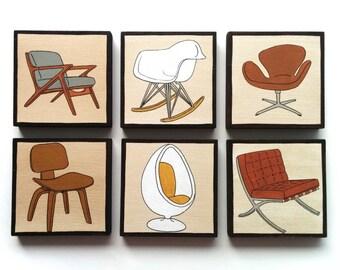 Original Wall Art, Set of SIX Mid Century Design Chairs on Wooden Art Blocks, handmade
