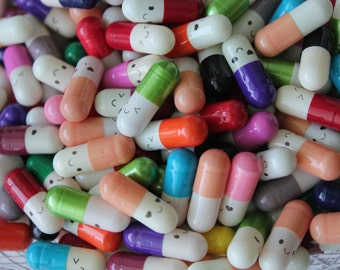 50 Kawaii Wish Pills, Wish Pills, Message Pills, Happy Pills, Emotion Pills, Macaron Box accessories, Wishes, and Messages