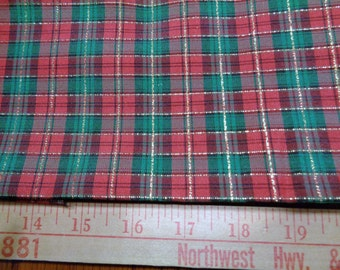1  1/4 yard red and green plaid with metallic gold holiday fabric