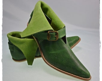 Medieval leather shoes from XIV-XV century - jade green - LARP shoes, Elfs shoes