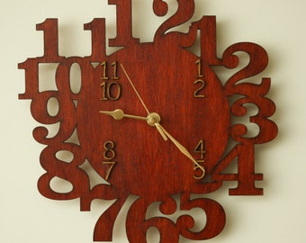Laser cut wooden wall clock. 'Lotto'