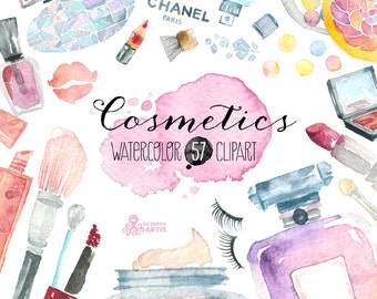 Makeup Cosmetics Watercolor. 57 Hand painted clipart, diy elements, fashion, invite, beauty, eyeshadow, lipstick, perfume, nail polish, blog