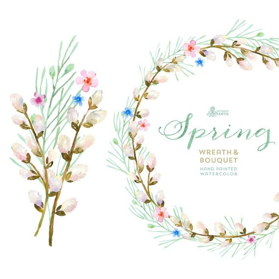 Spring Wreath Bouquet Flowers Clipart Handpainted Watercolor Wedding Floral Invitations Greetings Blossom Romantic Frames