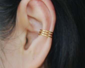 3 Band 16K gold dipped Ear cuff ,No Piercing Cartilage Ear Cuff, Ear Jacket, Ear Wrap