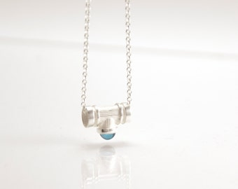Flue of Soul - silver necklace with topaz