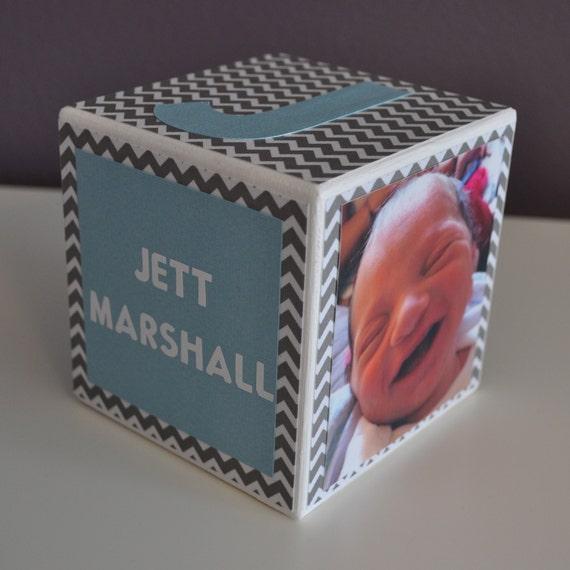 Personalized Baby Birth Announcement, Custom, Wood Photo Block, Nursery Decor, Newborn Keepsake, Newborn Gift, Chevron, Boy, Birthday